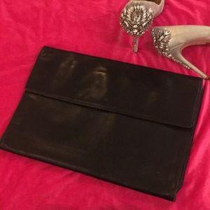 Black Coach leather clutch/ document/ laptop bag